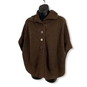 George Brown Button Front Knit Cape/Poncho